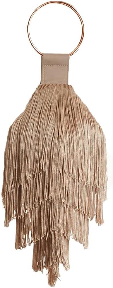 Farrah + Sloane Margot Short Fringe Bracelet Bag Wristlet, Nude