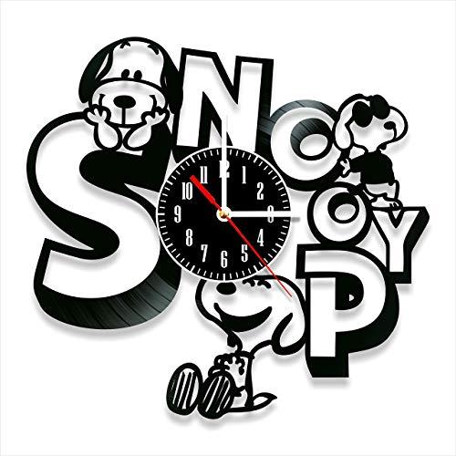 YYIFAN Wanduhr Aus Vinyl Snoopy Schallplattenuhr, Familien Dekoration 3D Design Uhr Wand-Deko Schwarz Restaurantuhr, Mit Haken 30 cm,Lieferzeit 8 bis 15 Tage