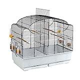 Ferplast Canto Cage, Livrée avec Accessoires, Métal Robuste Vernis Noir, Bac en Plastique Blanc pour Canaris et Oiseaux  Exotiques, Petite Cage de Reproduction avec Séparation, 71 x 38 x 60,5 cm