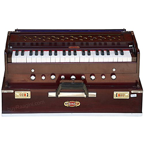 Harmonium BINA No. 17 Delux, In USA, Folding, Special Double Reed, Safri, Kirtan, 9 Stops, Rosewood Color, Coupler, Comes with Book and Nylon Bag (PDI-177)