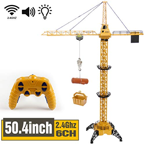 Mini Tudou 504 inch Tall 24GHz Remote Control Tower Crane 6 Channel Radio Control Construction RC Crane Toy 680 Degree Rotation Lift Model with Tower Light amp Sound for Kids Boys Girls