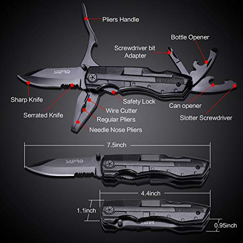Multitool Pocket Knife UPGRADE, Multi Tool Gifts for men, Portable Survival Equipment, Folding Utility Pliers Set, Multipurpose for Fishing, Car, Travel, Hiking, Camping Accessories. Black