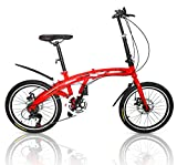 Outroad Folding Bike 7-Speed 20-inch Carbon Steel Urban Commuter Bicycle Red