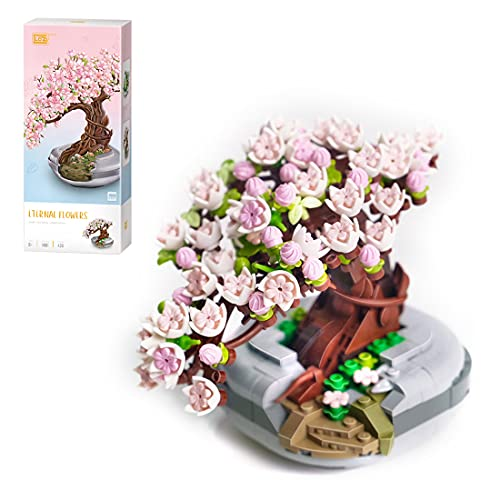 WWEI Árbol de cerezo japonés Bonsai de 426 piezas de bonsái artificial para mesa, casa,...