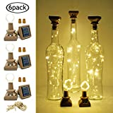 Solar Powered Wine Bottle Lights with Cork, LoveNite 6 Pack 20 LED Cork Shape Silver Copper Wire Colorful Fairy Mini String Lights for DIY, Party, Christmas, Wedding Decor (Warm White)