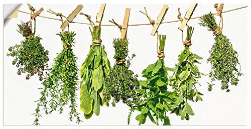 Artland Wandbild selbstklebend Vinylfolie 40x20 cm Wanddeko Wandtattoo Kräuter Gewürze Pflanzen Lebensmittel Mediterran T3WN