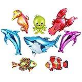 Ocean Animals Foil Balloon Mini Dolphin/Shark/Octopus/Lobster/Tropical Fish Balloons for Kids Birthday Party Decoration 8pcs