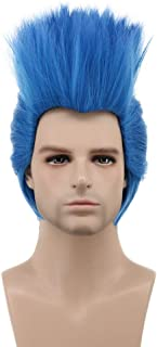 Karlery Men Short Straight Blue Wig Helloween Costume Wig Anime Cosplay Party Wig(Adult)