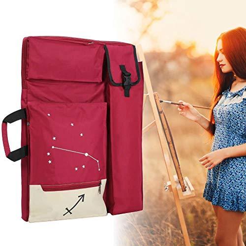 Simlug Art Student Portfolio Case, Victory Impreso multifunción Grande 4K Mochila Impermeable Tablero de Dibujo Bolsa de Transporte(Rojo)