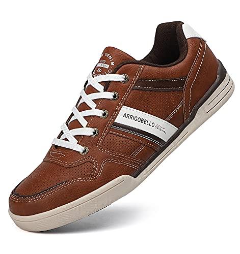 TARELO Sneakers Uomo Scarpe da Ginnastica Sportive Eleganti Casual Running Indoor Outdoor Taglia 41-46 (Marrone, 43)