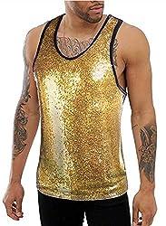 Gold #2 Sequins Tank Top Sleeveless Shirt