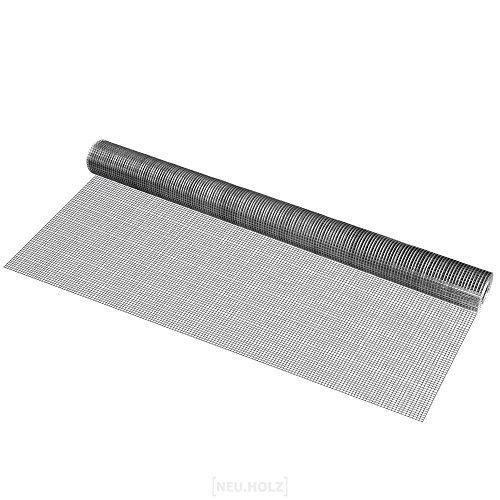 pro.tec Drahtgitter grau 1m x 5 m 4-Eck verzinkt Schweißgitter Volierendraht