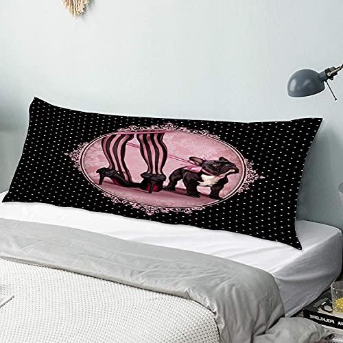 Funda Almohada Cuerpo,Pink Dog My French Bulldog Legs Zapatos Negros Elegantes,Funda de Almohada Larga y Suave con Cierre de Cremallera Sofá de Dormitorio Decorativo 20 x 54