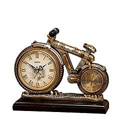 Mantel Fireplace Clock, Bicycle Shape Creative Design Decoration Silent Battery Operated Antique Table Clock, Retro Style For Office And Living Room Desk Vintage Clock