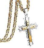 sailimue Gioielli Collana in Acciaio Inossidabile Uomo Croce Ciondolo Gialla Nera Catena Bizantina 5MM Collane Lunghe 56cm 61cm 71cm