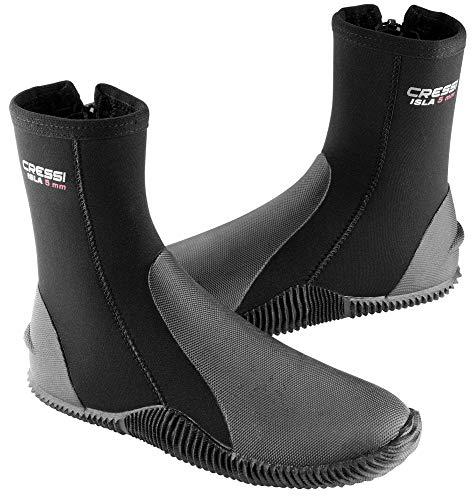 Cressi Isla Boots, Calzari per Immersione in Neoprene con Suola 5mm Unisex Adulto, Nero/Logo Rosso/5mm, M