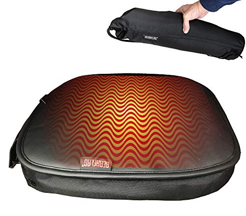 GEARFLAG Portable Heated Stadium Outdoor Seat Cushion, Digital Temperature Control, Emergency Winter Outdoor, Compact Carrying Bag, Camping, Hiking, Sport