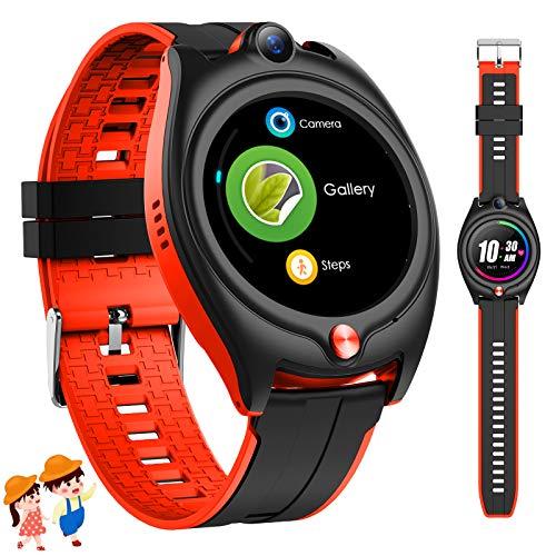Fitonme 4G Smartwatch Niños con GPS, Reloj Inteligente Niños con 4G 1.28'' GPS WiFi Video Llamadas Mensajes,Modo Colegio, SOS, Cámara y Podómetro 6-15 años Cumpleaños Regalos (Rojo)