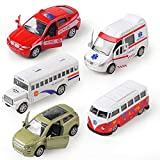 KIDAMI Die-cast Metal Toy Cars Set of 5, Openable Doors, Pull Back Cars Ambulance, Gift Pack for Kids (Official Car Ⅱ)