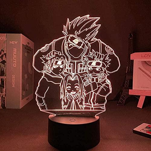 GMYXSW 3D noche luz 3D noche LED lámpara anime figura Narutoed adolescente habitación decoración led iluminación led panel luces manga anime habitación decoración anime lámpara remoto