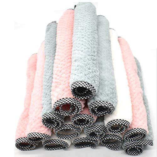 Tianher Trapos de Cocina Microfibra Juego de 15 Vellón de Coral paños de Cocina Ultra absorbentes y Suaves para Polvo Cocina Cuadros Espejos para Lavar Platos Secado rápido Toallas de Limpieza
