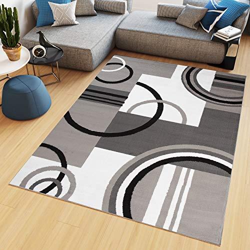 TAPISO Maya - Alfombra Moderna para salón, Gris y Beige, geométrica Abstracta de Pelo Corto, 140 x 200 cm