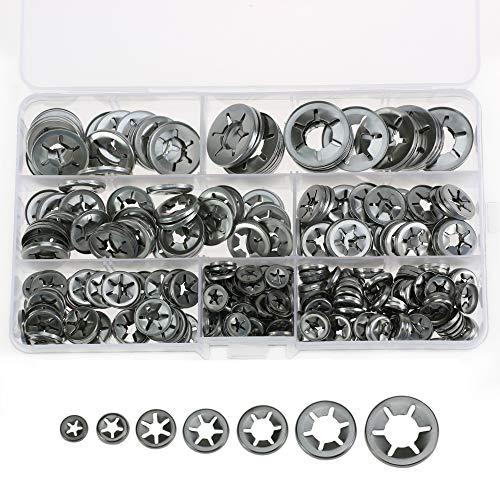 400 Stücke Innenzahn 304 Edelstahl Starlock Unterlegscheiben Quick Speed Locking Unterlegscheiben Push On Speed Clips Befestigungen Sortiment Kit M3 / M4 / M5 / M6 / M8 / M10 / M12