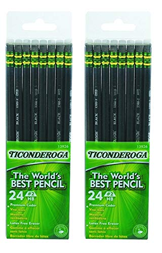 Dixon Ticonderoga Wood-Cased #2 Pencils, 2 Boxes of 24, Black (13926)