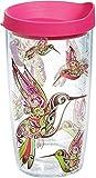 Tervis Hummingbirds Wrap 16oz Tumbler with Fuchsia Lid, Clear -