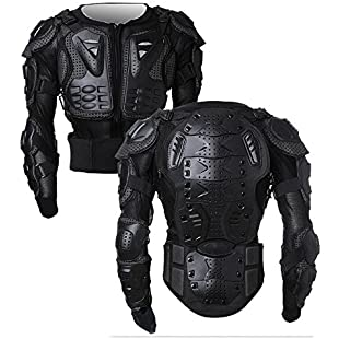 Motorcycle Motorbike Full Body Armor Protector Pro Street Motocross ATV Guard Shirt Jacket with Back Protection Black XL:Amedama