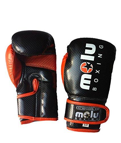 MoluBoxing - Guante PU Dickies, Tamano: 39x18x13, Talla: 14 onzas, Color: Negro/Naranja
