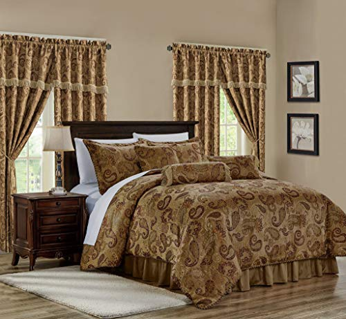Chezmoi Collection Adelle 7-Piece Paisley Jacquard Embroidered Comforter Bedding Set, Queen Size