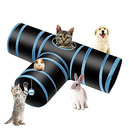 PHYLES Katzenspielzeug Katzentunnel, Ball Cat Tunnel Haustier Tunnel Spieltunnel 3-Wege Pet Play Tunnel Tube Katzen, Welpen, Hasen und Kleintiere
