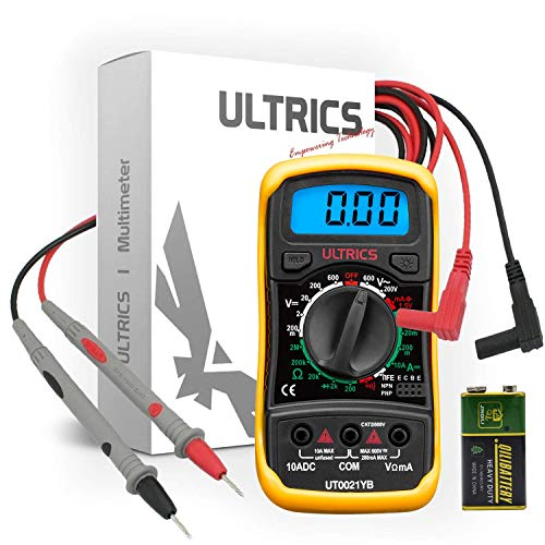 ULTRICS Digital Multimeter, Voltmeter Ammeter Ohmmeter Circuit Checker with Backlight LCD Test Leads, Portable Multi Tester Measures OHM AC DC Voltage Current Resistance Continuity Diodes Transistor