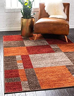 Unique Loom Autumn Collection Checkered Abstract Casual Warm Toned Multi/Dark Brown Area Rug (6' 0 x 9' 0)