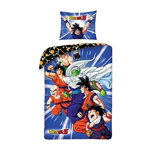 Halantex – DB110-3BL – Juego de Cama Individual Dragonball Z PROTAGONISTAS Pequeño Goku Funda nórdica y Almohada – 100% algodón – 140 x 200 cm y Funda de Almohada 70 x 90 cm