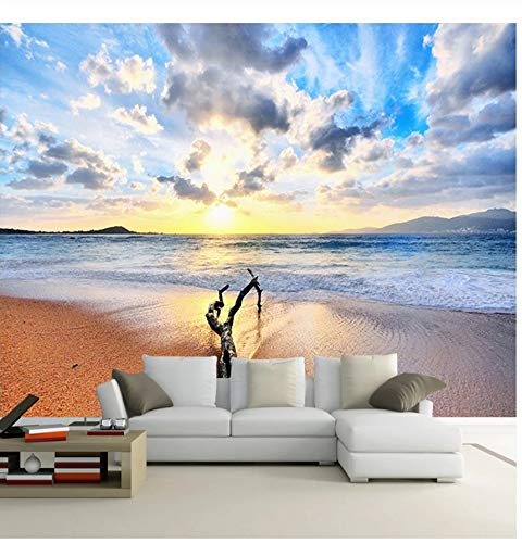 3D Wandbilder Strand Sand Seascape Sunrise Landschaftsfoto Wandbild moderne Wohnzimmer Sofa TV Wandfarbe Hintergrund-300X210CM