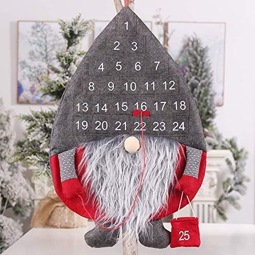 Christmas Countdown Calendar,Novelty Cute Faceless Santa Countdown Calendar for Xmas Decoration,New Year Door Wall Decorations,Kids Xmas Gifts for DIY Christmas Ornaments Hanging Decorations (02)