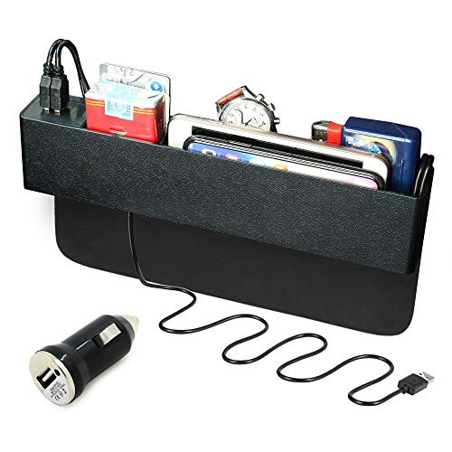 Organiseur de Poche Latérale,XYEU Boîte de Rangement de Siège en Plastique Ergonomique avec 2 Ports USB Remplisseur d'espace de Siège pour les Téléphones Cellulaires,Clés,Cartes-Noir …
