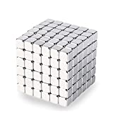 LiKee 5MM 216 Pieces Magnetic Sculpture Magnet Building Blocks Fidget Gadget Toys for Stress Relief, Office and Home Desk Decor, Cool Gadget for Adult,Man,Women (Silver, 5mm)