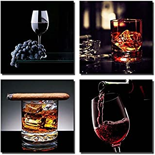 Gardenia - Wine With Cigar Canvas Prints Modern Wall Art Paintings Stretched and Framed for Room and Kitchen Decoration, Wine with Ice Artwork for Room Decoration Ready to Hang
