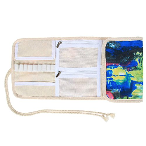 Teamoy Crochet Hook Case, Canvas Roll Bag Holder Organizer for Various Crochet Needles and Knitting Accessories, Compact and All-in-one.