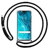 Housse pendentif transparente pour Huawei Honor 9X Lite avec cordon noir