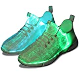 Shinmax Fiber Optic Shoes, LED Shoes 7 Colors 4 Mods USB Rechargeable Light Up Shoes Super Lightweight LED Sneaker for Men and Women,Blanc,40 EU