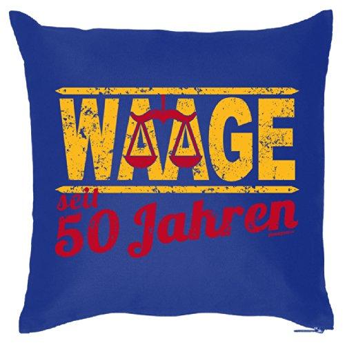Kissen mit Sterzeichen zum 50. Geburtstag - Waage seit 50 Jahren - Schönes Geschenk, mit Füllung