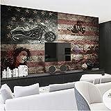 Vintage Lokomotive Amerikanische Flagge Benutzerdefinierte 3D Fototapete Schlafzimmer Wohnzimmer Wandabdeckung Wohnkultur Wandbild-300(W) x 210(H) cm