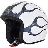 GZM Casco Jet AFX FX-76 Flame Blanco White Blue Homologado ECE DOT Moto Biker Vintage Talla M