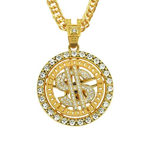NUOBESTY Dollar Sign Pendant Necklace Hip Hop Punk Necklace US Money Coin Rhinestones Necklace for Men Women Rapper Golden