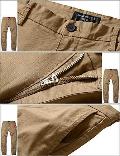 Match Men's Fit Tapered Stretchy Casual Pants (32W x 31L, 8106 Khaki)