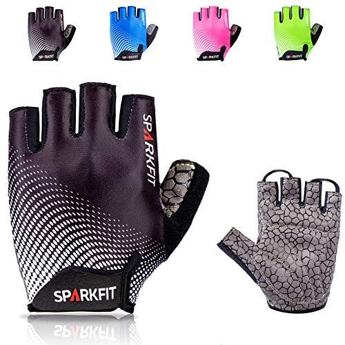SPARKFIT Fahrrad-Handschuhe Herren, Fingerlose MTB-Handschuhe mit Handgelenkschutz zum Mountainbiken und Rennrad-Fahren, Fitnesshandschuhe für Kraft-Training, Workout und Radsport